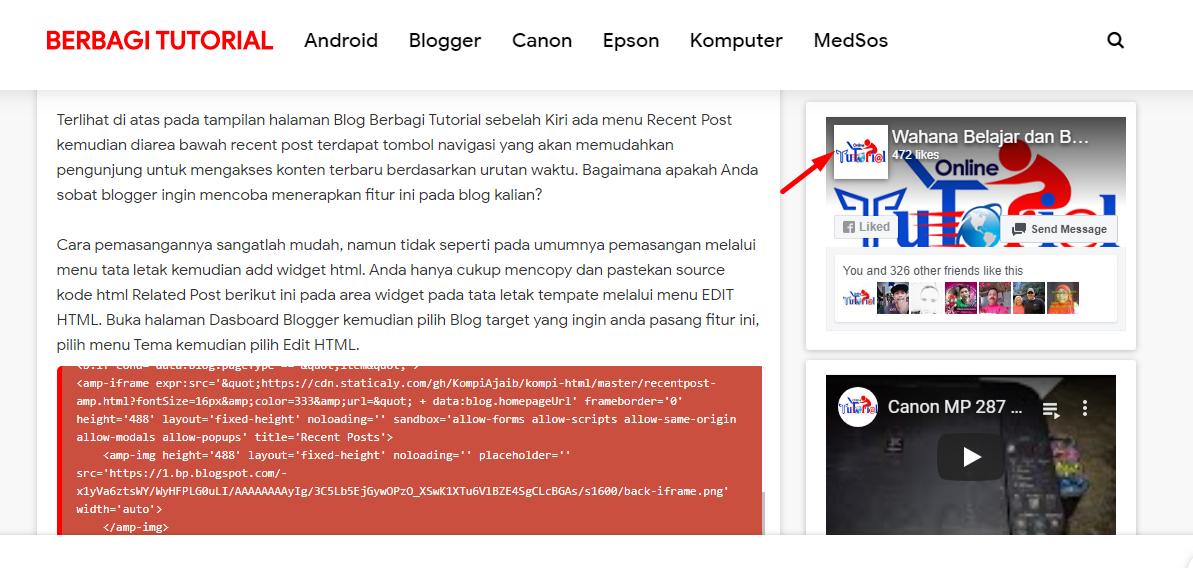 Tutorial Cara Memasang Widget FansPage Facebook Blog AMP