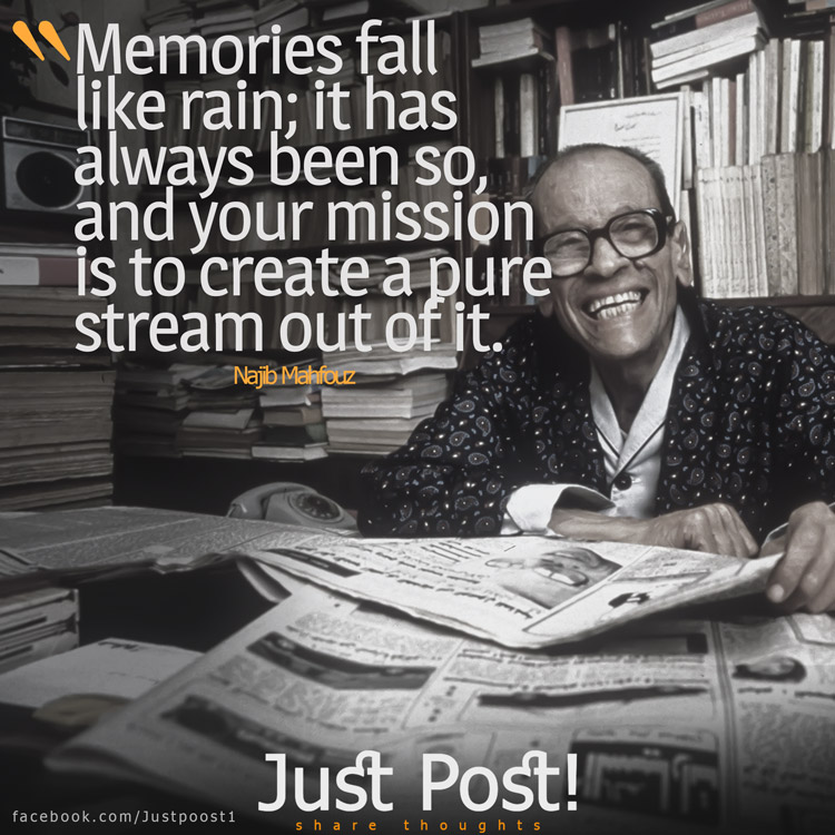 Memories fall like rain; it has always been so, and your mission is to create a pure stream out of it.