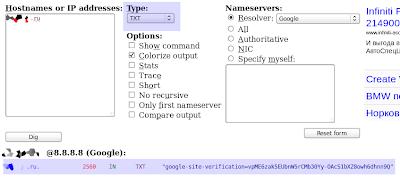 Проверка TXT записей NSLookup и Dig