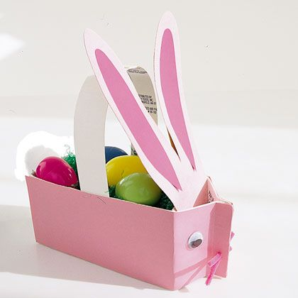 Easter Craft: Milk Carton Bunny Basket