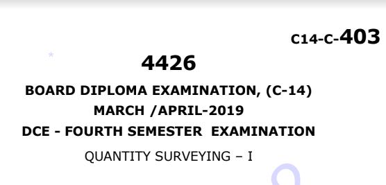 Polytechnic Quantity Surveying-1 Previous Question Paper c14 March/April 2019