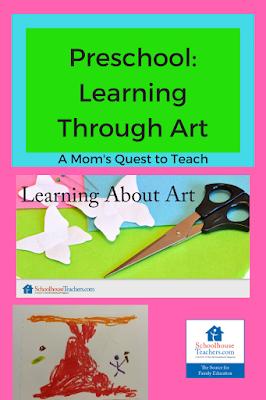 Text: Preschool Learning through art; children's preschool paintings