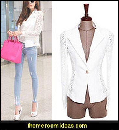 Women's Elegant Coat Lace Splicing Slim Suits Jacket Coat