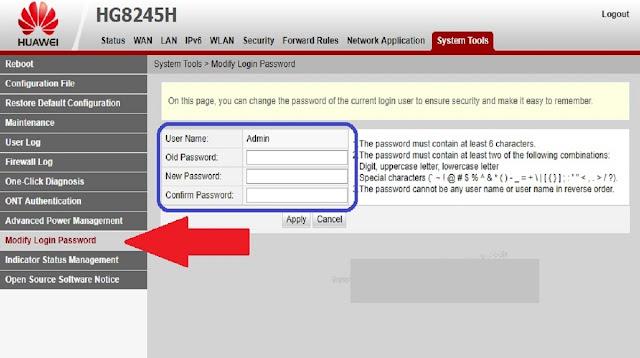 Password Huawei HG8245H IndiHome