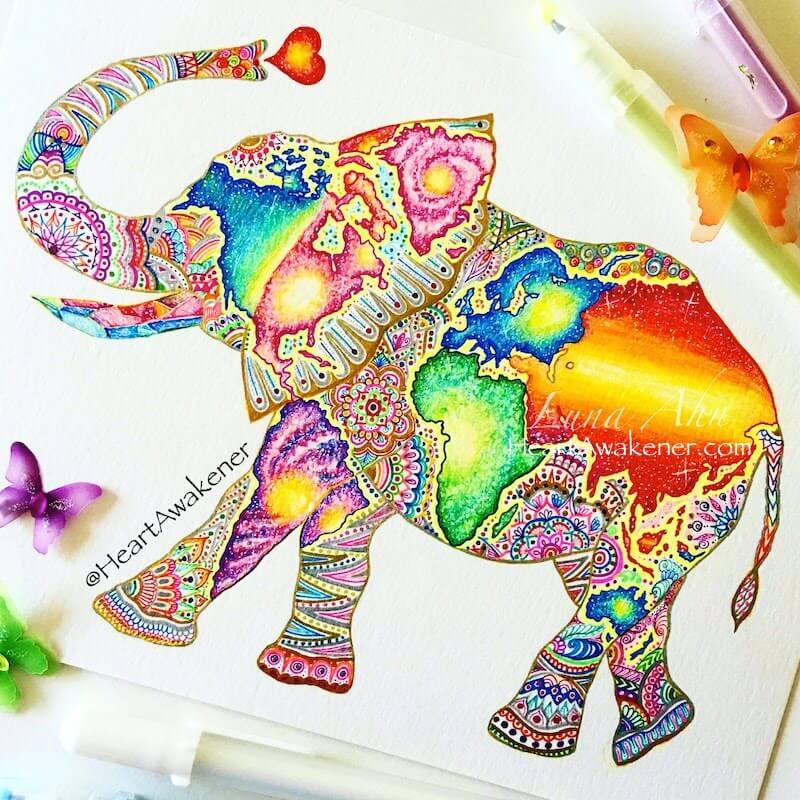 Elephant drawing with world map by Luna Ahn