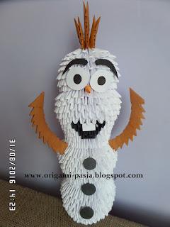 Olaf z Krainy Lodu - origami modułowe, 3d, z papieru, bajka, postać, prezent, dla dziecka, duży Olaf, biały, brąz, czarny, marchewka,
