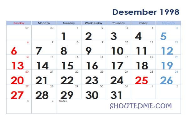 Kalender 1998 Masehi Bulan Desember