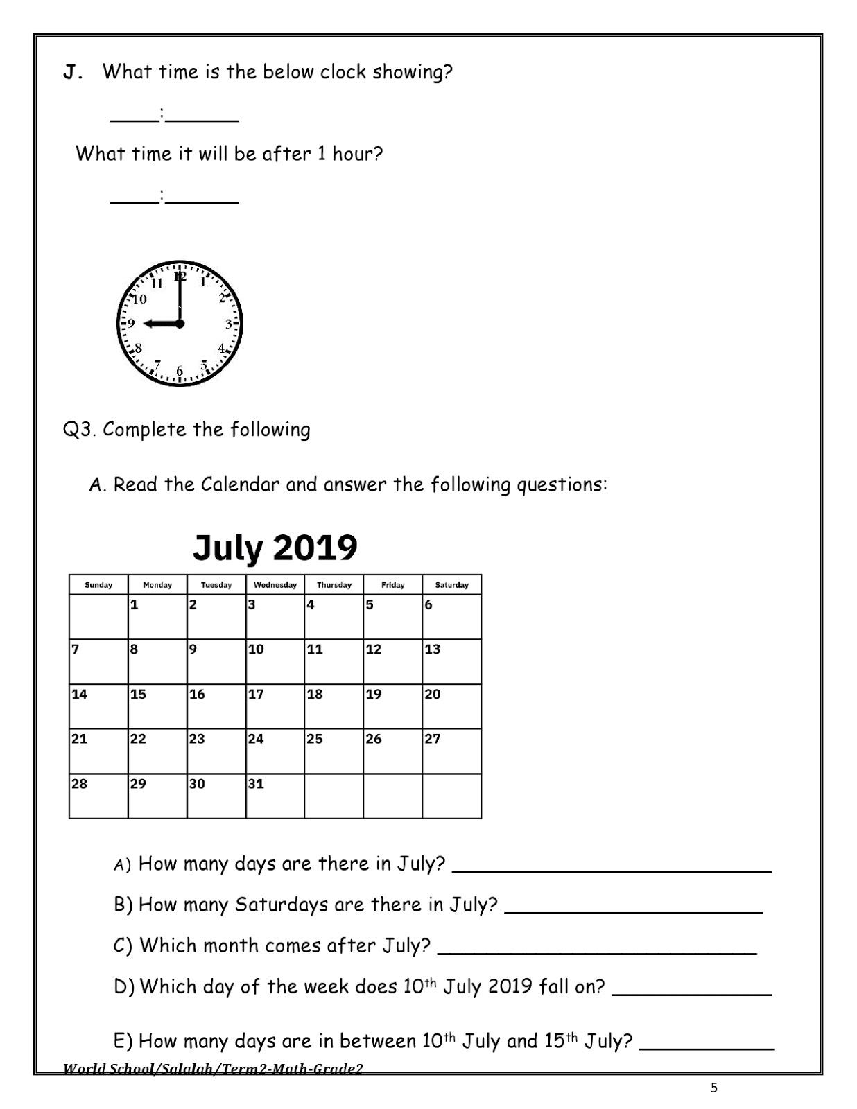 Birla World School Oman Revision Worksheets For Grade 2 As On 09 05