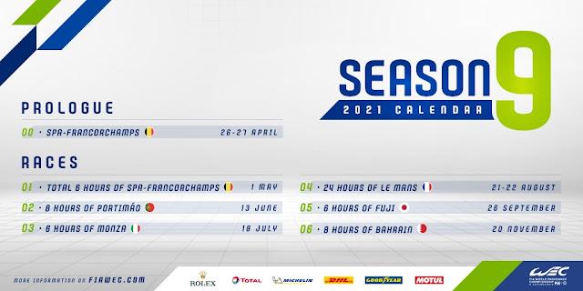 FIA WEC 2021 calendar