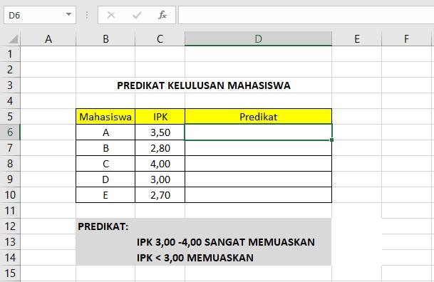 Penggunaan Rumus Logika IF di Microsoft Excel