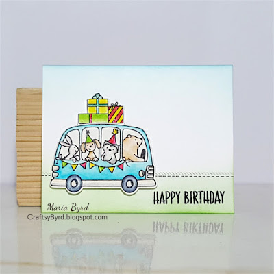 Avery Elle Happy Birthday Bus Card by Maria Byrd | CraftsyByrd.blogspot.com