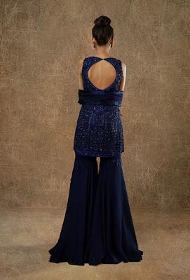 Manish Malhotra sharara dress indigo blue embellished sharara back side