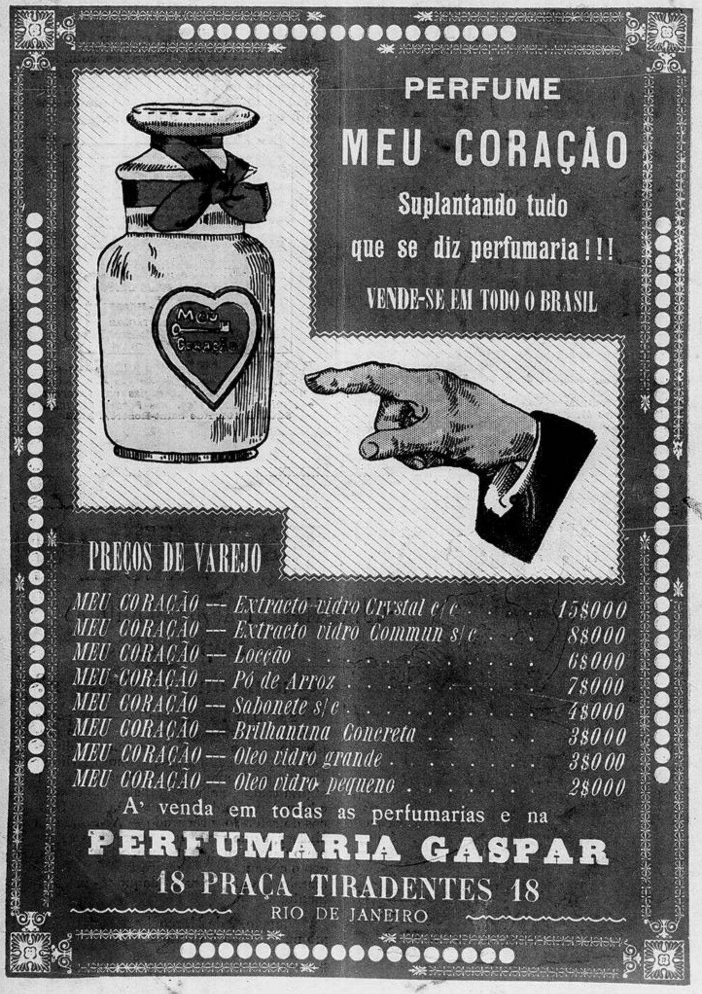 Anúncio veiculado em 1910 promovia o Perfume Meu Coração