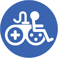 Game Accessibility Info symbol. White joypad rider on blue background.