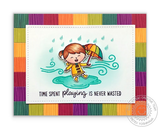 Sunny Studio Stamps: Fall Kiddos Rainbow Umbrella Card featuring Amazing Argyle Woodgrain 6x6 Patterned Paper
