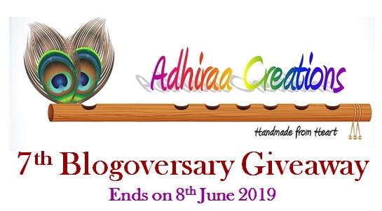 Adhiraacreations: 7th Blogoversary giveaway