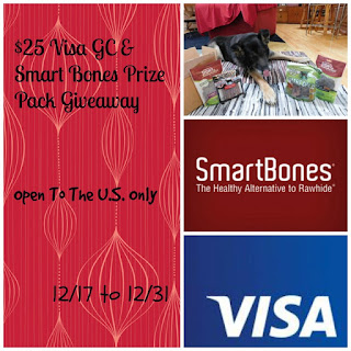 Enter the $25 Visa GC & Smartbones Prize Pack Giveaway. Ends 12/31