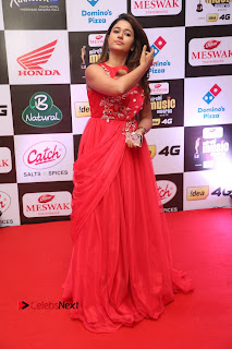 Actress Poonam Bajwa Pictures in Red Long Dress at Mirchi Music Awards South 2015  0104.JPG