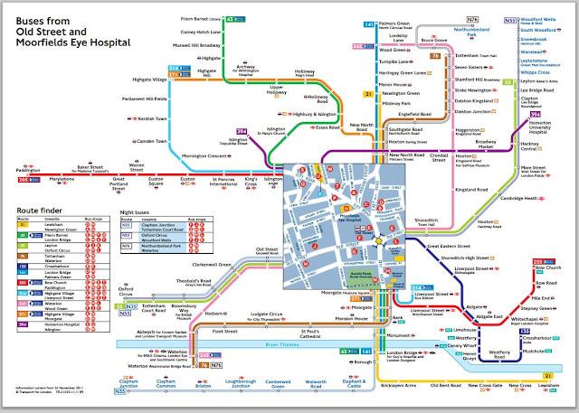 Mapa con las líneas de autobuses que pasan por la plaza de Old Street.