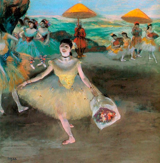 Эдгар Дега - Танцовщица с букетом от поклонников (1877)