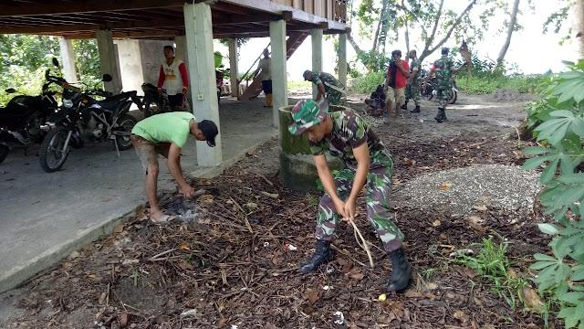 Aset Desa, Koramil 1312-08/Melonguane Leduli Kebersihan Bangunan Rumah Adat