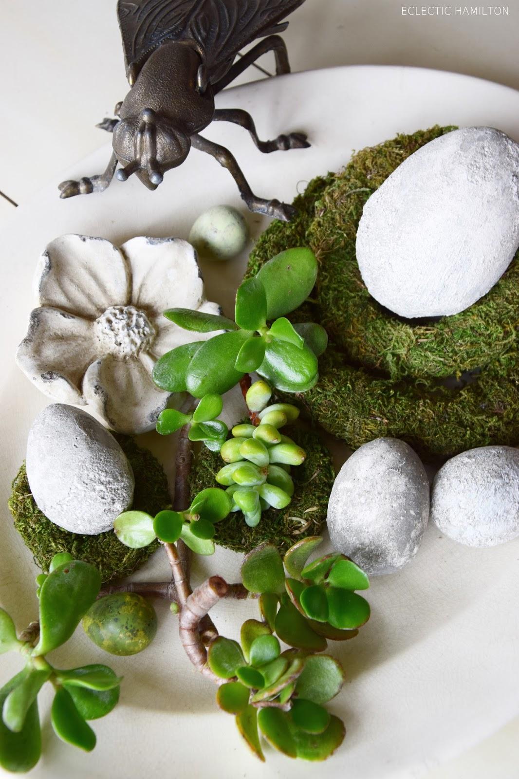 Deko mit Sukkulenten ohne Erde! Dekoidee mit Natur für euren Tisch, Konsole, Sideboard. Natürlich dekorieren mit Pflanzen Mooskranz Mooskränze