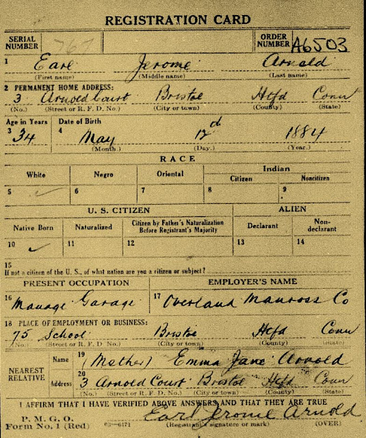 Earl J. Arnold was manager of the Overland Manross Co. garage in Bristol CT at the time of his registration.