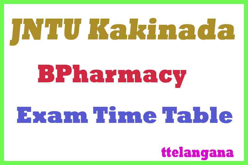 JNTU Kakinada BPharmacy Exam Time Table