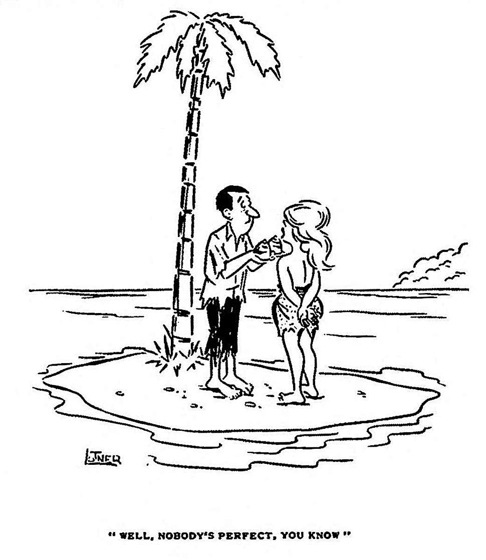 a Desert Island cartoon 1966 from a men's magazine