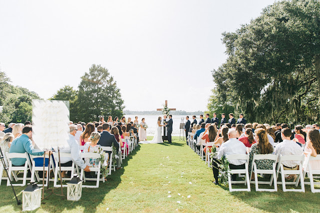 wedding ceremony outside at Lake Mary Events Center