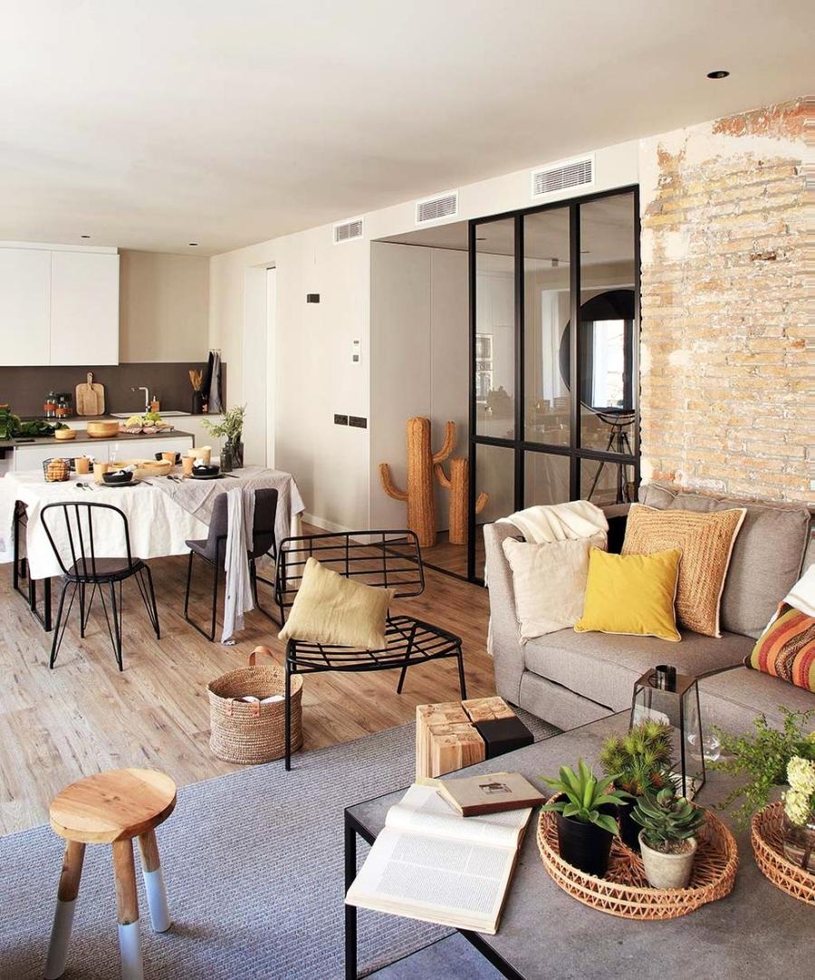 Industrialne elementy w stonowanym wnętrzu, wystrój wnętrz, wnętrza, urządzanie domu, dekoracje wnętrz, aranżacja wnętrz, inspiracje wnętrz,interior design , dom i wnętrze, aranżacja mieszkania, modne wnętrza, styl industrialny, styl loftowy, loft, stonowane kolory, naturalne dodatki, czarne dodatki, otwarta przestrzeń, ściana z cegły, jadalnia, kuchnia