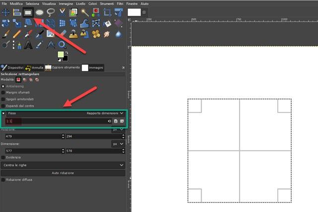 disegnare un quadrato con gimp