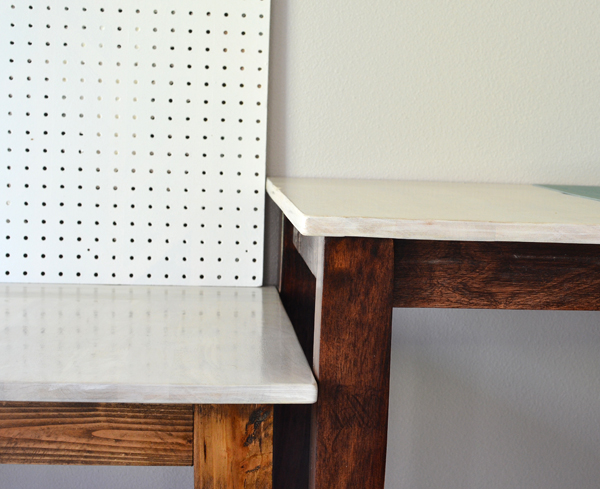 beautifully stained table with a dark walnut stain and white washed stain on top