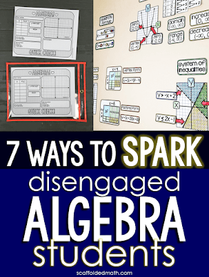 "Do you have students who struggle to ""get it"" in your algebra class? I've been there! The ideas and resources in this post work for special education algebra students and students who need some convincing that algebra is cool. The post includes links to a solving equations graphic organizer, quick check algebra templates, algebra pennants, math cheat sheets, partner math activities and an algebra 1 word wall. All of the algebra teaching ideas in this post are teacher tested and kid approved! I know they will work to reengage your students."
