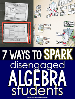 "Do you have students who struggle to ""get it"" in your algebra 1 class? Are you teaching algebra for the first time? I've been there! The algebra teaching methods, ideas and resources in this post work for special education algebra 1 students and students who need some convincing that algebra is cool. The post includes links to algebra 1 teaching activities including a solving equations graphic organizer, quick check algebra templates, algebra pennants, math cheat sheets, partner math activities and an algebra 1 vocabulary wall that comes both in print and digital. All of the algebra teaching ideas in this post are teacher tested and kid approved! I know they will work to reengage your students."