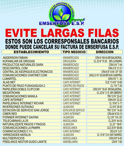 NUEVOS PUNTOS DE PAGO EMSERFUSA