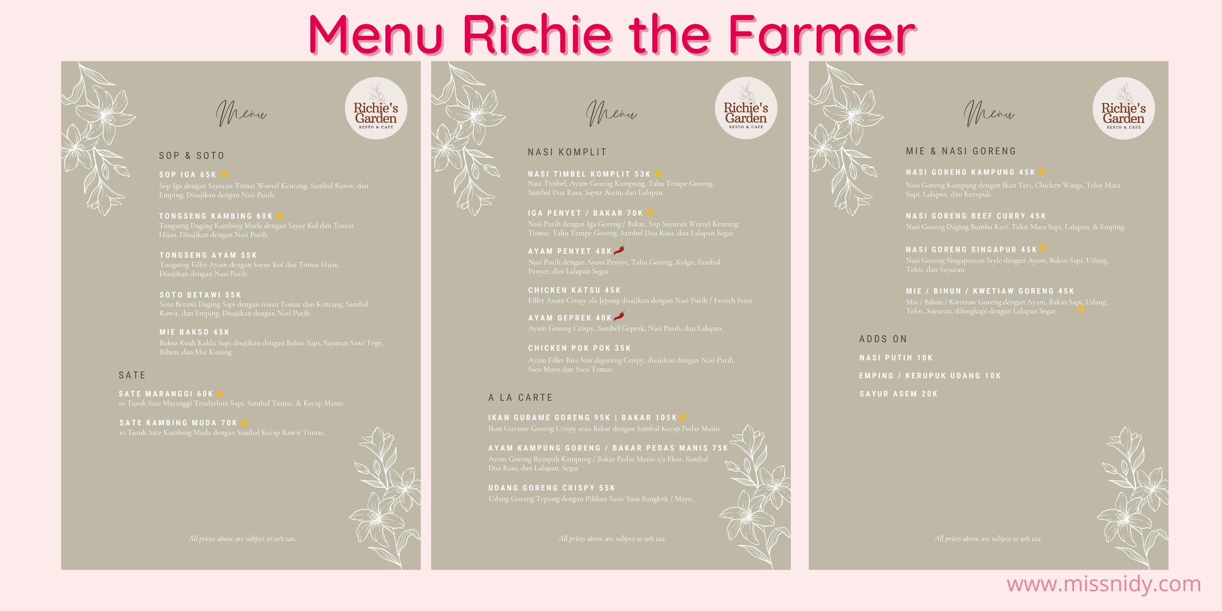 harga menu richie the farmer