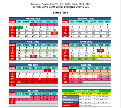 Kalender pendidikan Tahun 2019/2020 Jawa Barat