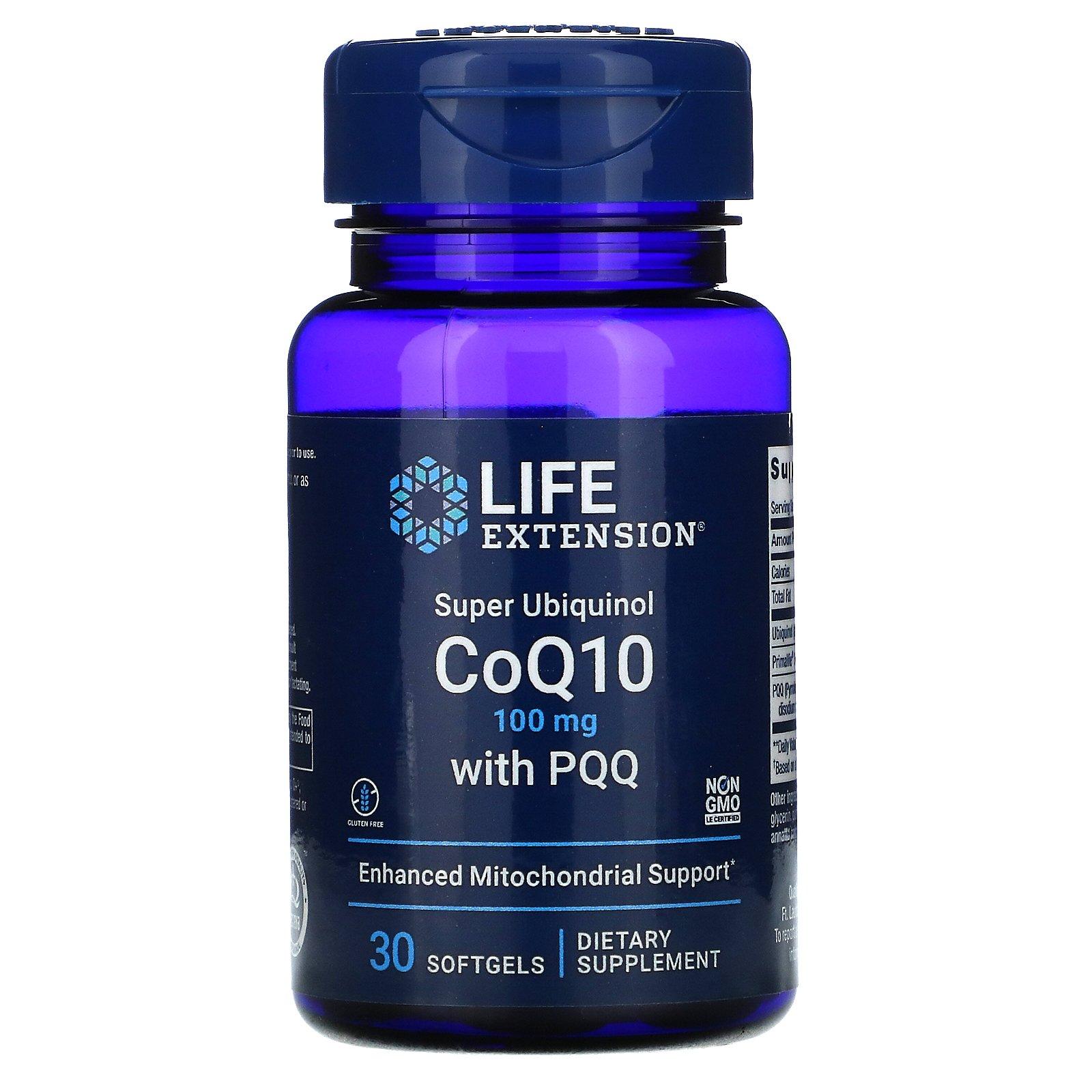 Life Extension, суперубихинол коэнзим Q10 с пирролохинолинхиноном (PQQ), 100 мг, 30 мягких таблеток