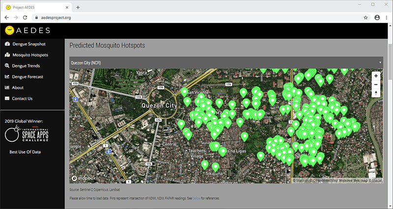 Project AEDES' web interface