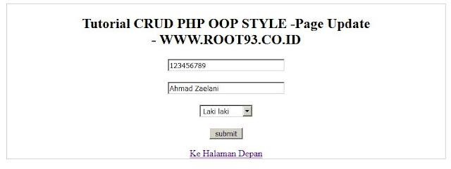 antar muka untuk update data - crud oop php - root93