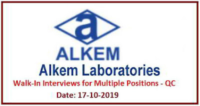 Alkem Laboratories - Walk-in interview for Quality Control on 17th October, 2019