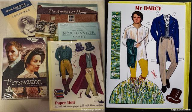 Souvenires à venda na loja do Museu Casa de Jane Austen em Chawton, Inglaterra