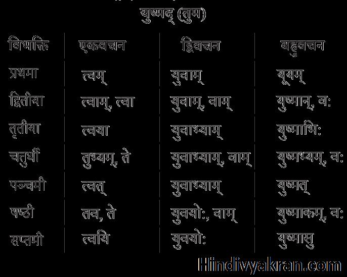 युष्मद् शब्द रूप संस्कृत में – Yushmad Shabd Roop In Sanskrit