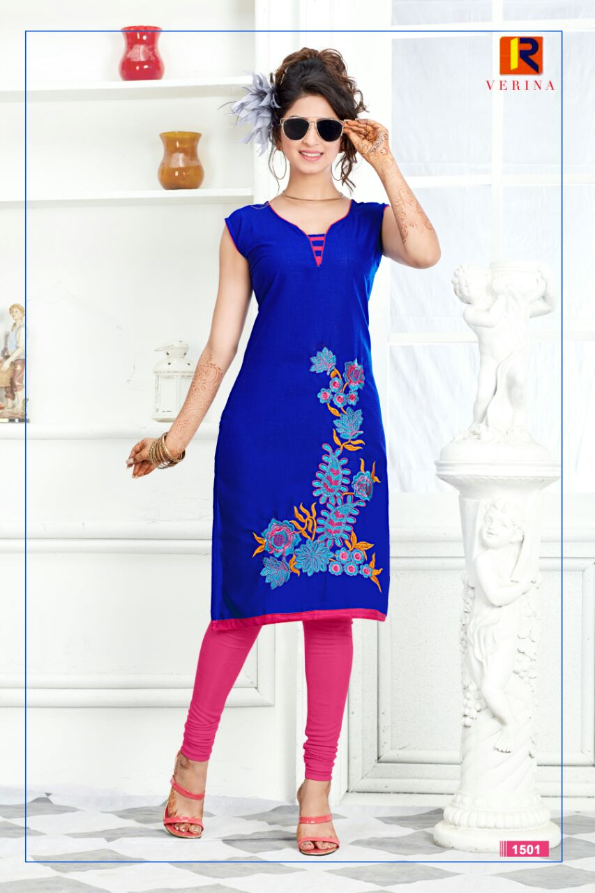Verina – Best Stylish Cotton Embroidery Designer Kurti