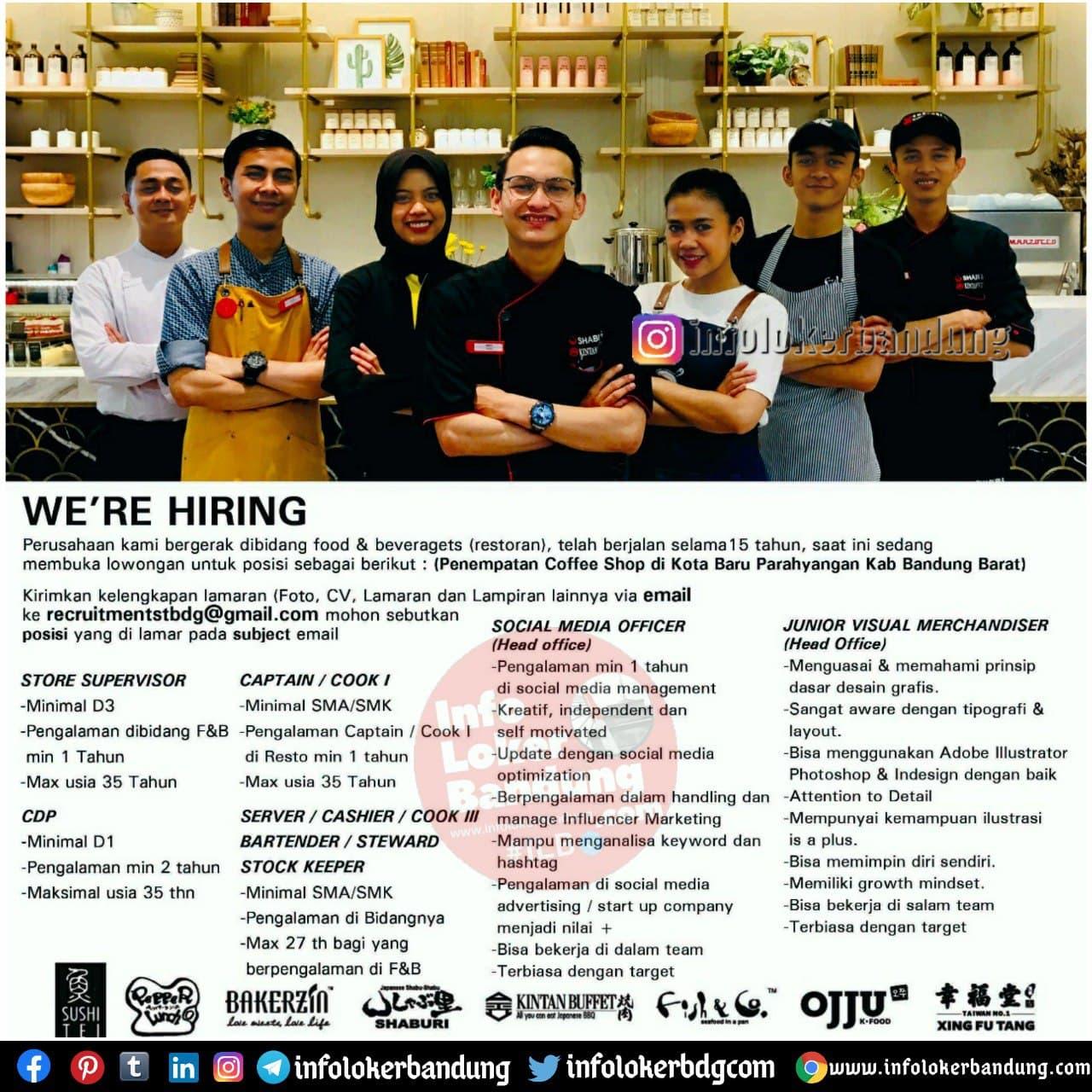 Lowongan Kerja Sushi Tei Group Bandung Desember 2020