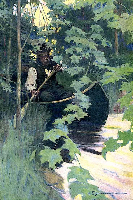 Frank E. Schoonover river canoe