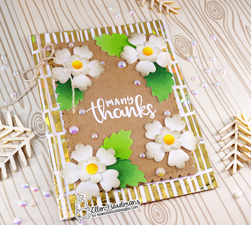 Newton's Nook Designs & Therm O Web Inspiration Week - Floral Thank you card by Ellen Haxelmans | Serene Stripes Stencil, Thankful Thoughts Stamp Set and Flower Trio Die Set and Halloween Trio Stamp Set by Newton's Nook Designs | Flock and Foil Transer Sheets by Therm O Web #newtonsnook #thermoweb