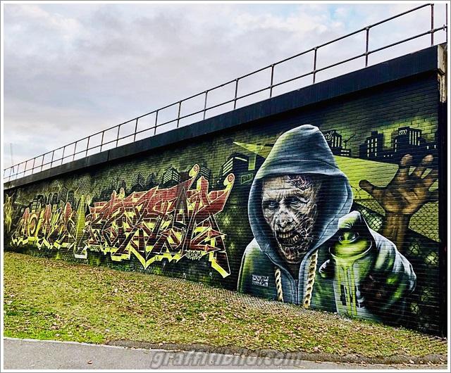 Halloween graffiti wall, halloween street art,
