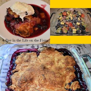 blueberry, strawberry, rhubarb cobbler
